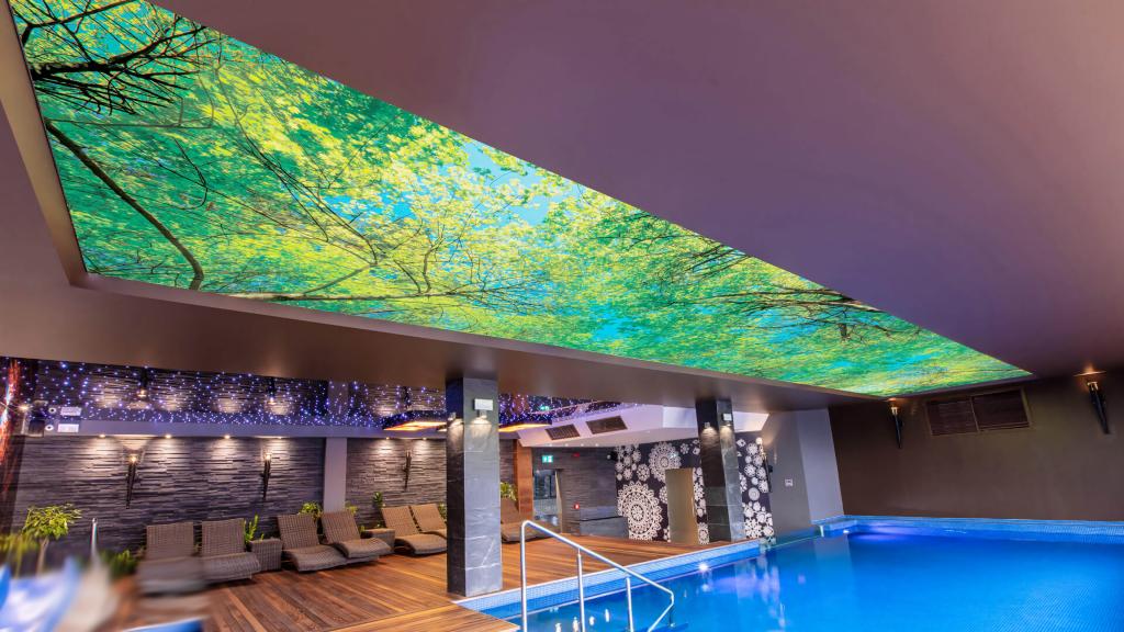 techo con impresion piscina climatizada